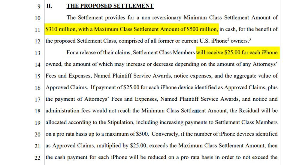 A highlighted screenshot of the legal text draws attention to the payout amounts