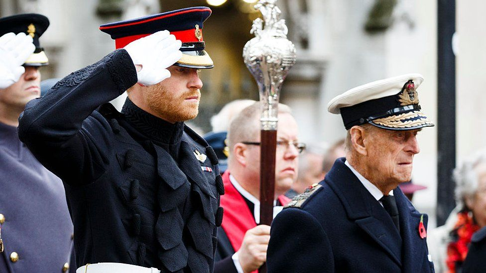 Prince Harry and Prince Philip at the Fields of Remembrance at Westminster Abbey in 2016