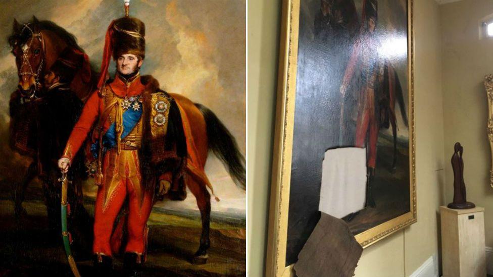 Painting and vandalised painting of Sir Edward Kerrison