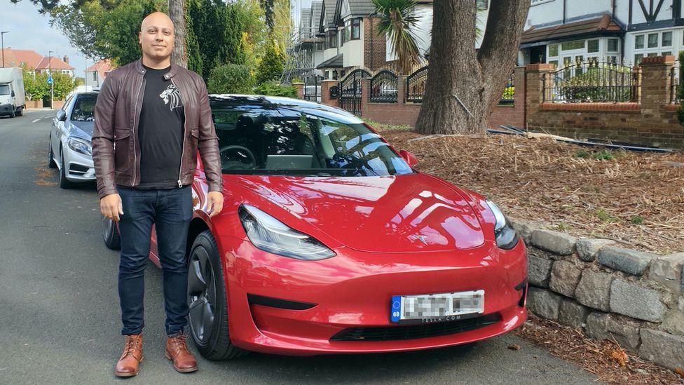 Bhavin Bhagalia and his new Tesla Model 3