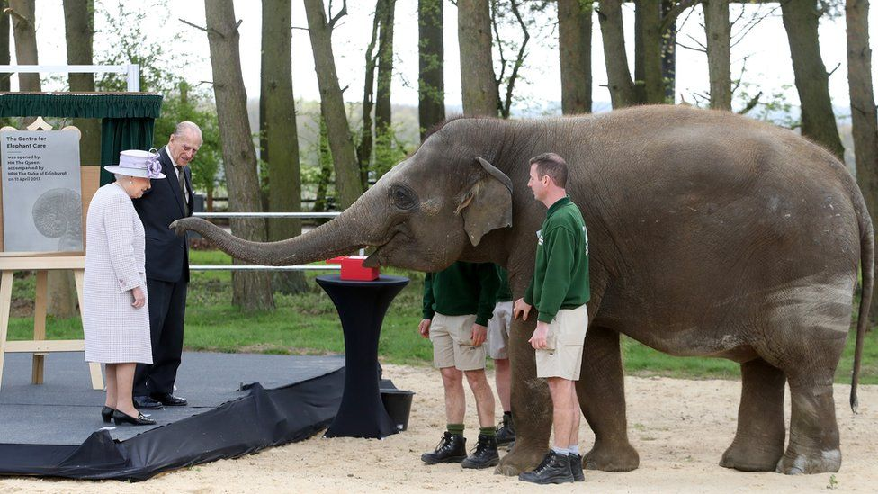 The Queen, accompanied by the Duke of Edinburgh, opens an elephant centre at Whipsnade Zoo