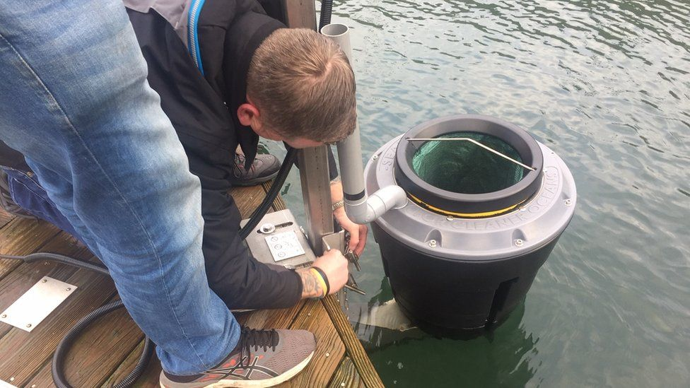 The sea bin is fixed into position