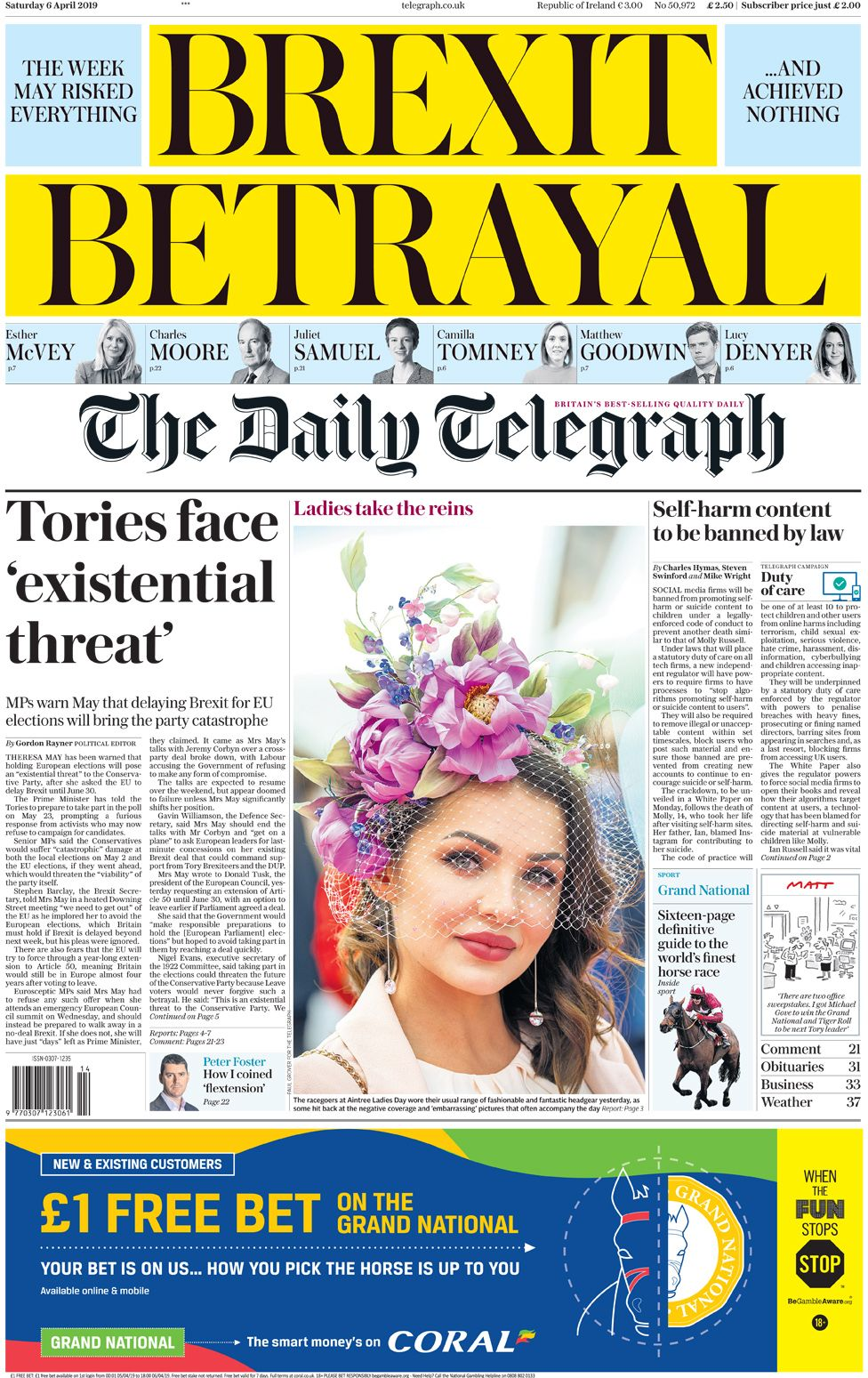 Daily Telegraph front page, 6/4/19