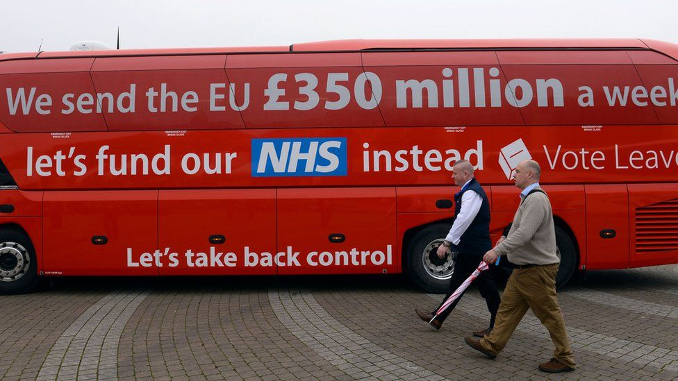 "The Vote Leave campaign bus, with its claim ""We send the EU £350 million a week, let's fund our NHS instead - vote Leave"""