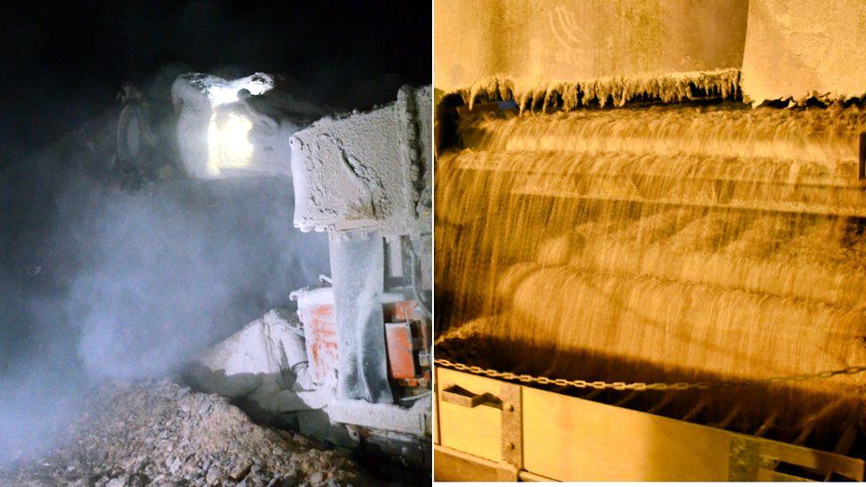 miner claws away salt and salt gets crushed