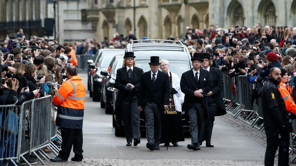 The funeral cortege went through Cambridge City centre