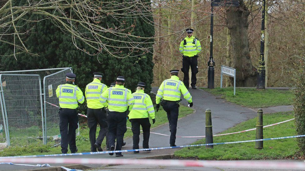 Metropolitan Police officers continue their search at Fellowship Walk in Sandwich, Kent,