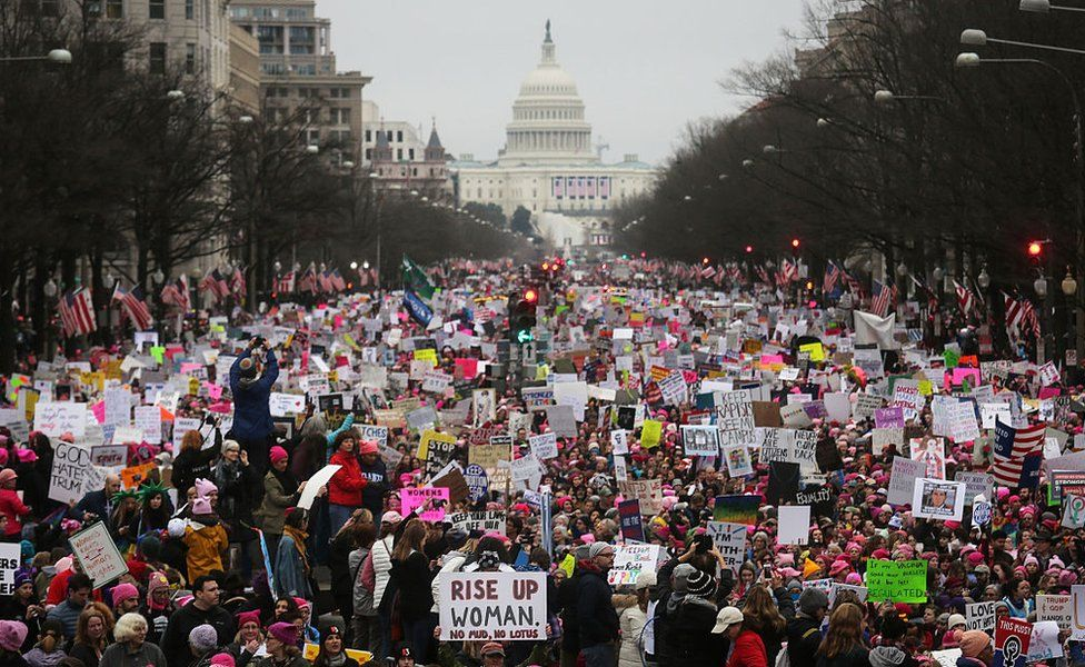 Protesters at the Women's March on Washington, DC on January 21 2017
