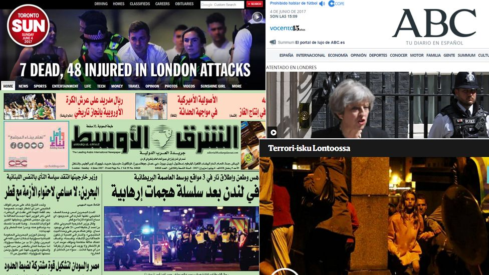World newspaper headlines report on the London terror attack