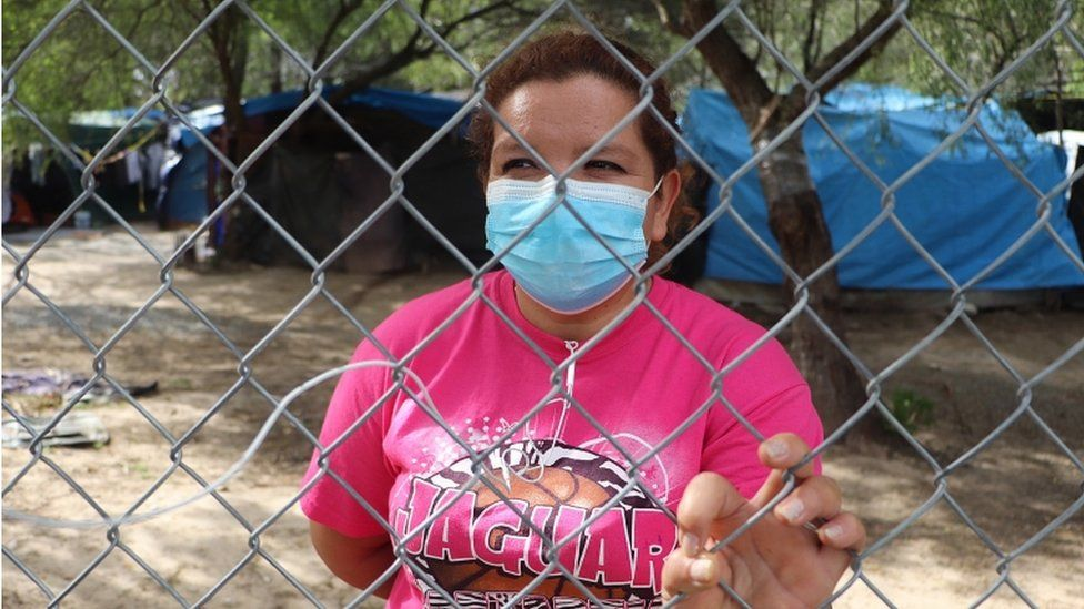 Some people, like Maria Guadalupe, remain stranded on the border waiting for asylum in the US