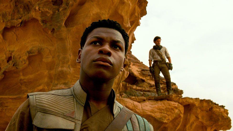 John Boyega with Oscar Isaac in Star Wars: The Rise of Skywalker