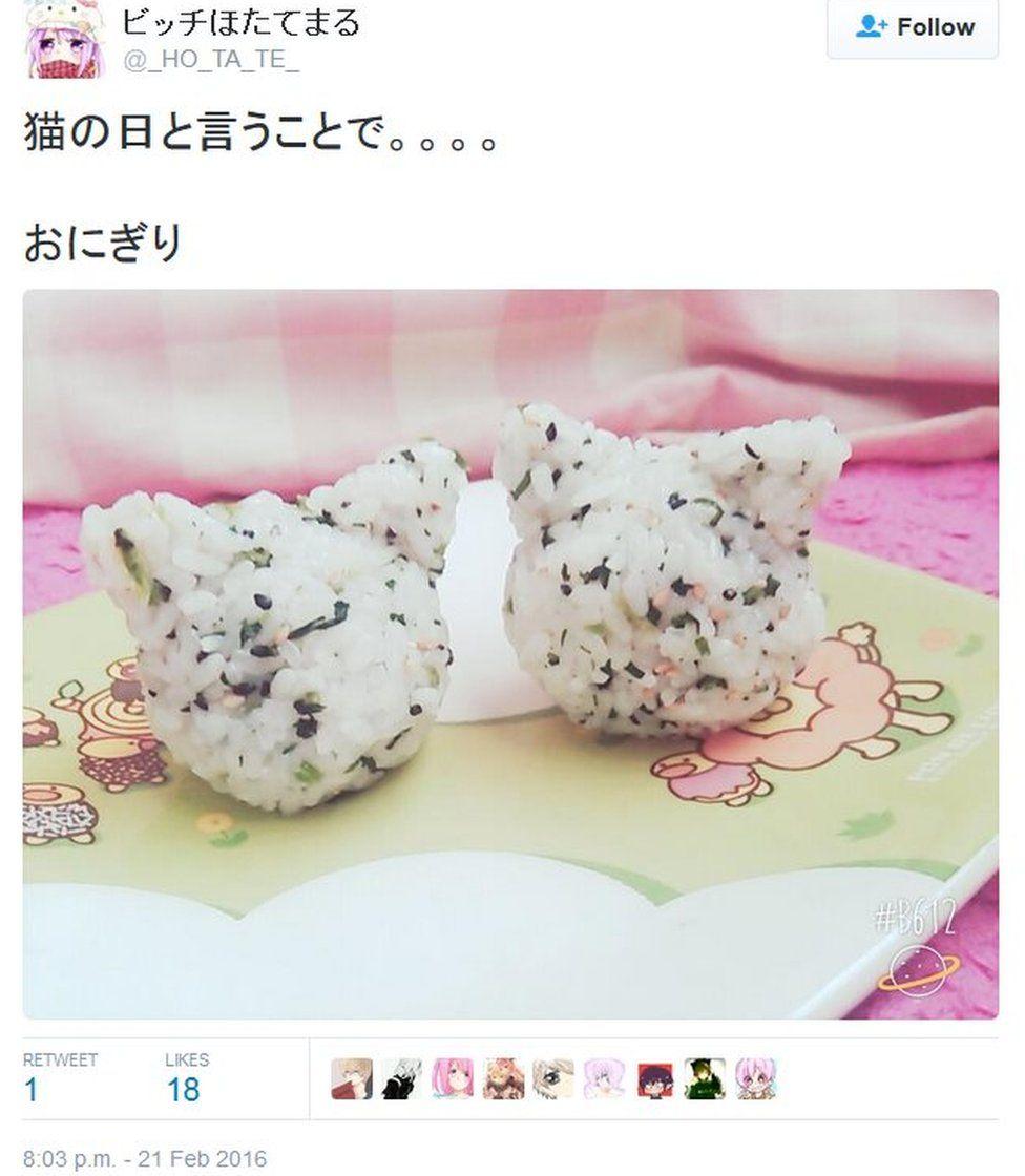 Tweet by @_HO_TA_TE_ on cat-shaped onigiri balls
