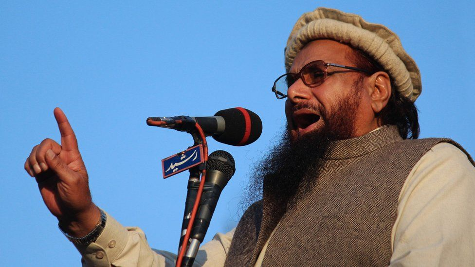 Hafiz Saeed addresses an anti-Charlie Hebdo rally in 2015