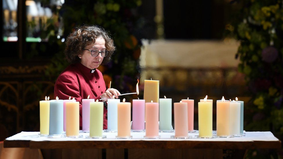 Candles lit in Manchester Cathedral