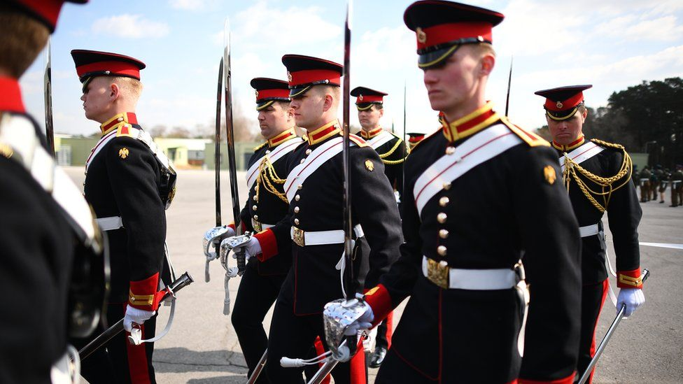 Members of the Household Cavalry, The Blues and Royals rehearsing for the Duke of Edinburgh's funeral