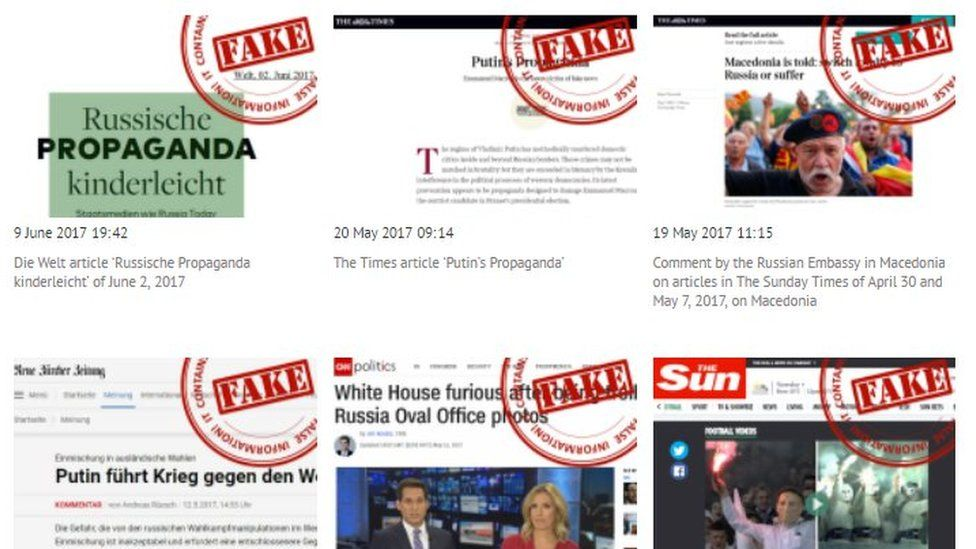 "Screengrab from Russian foreign ministry website shows foreign news articles stamped with the word ""Fake"" in red"