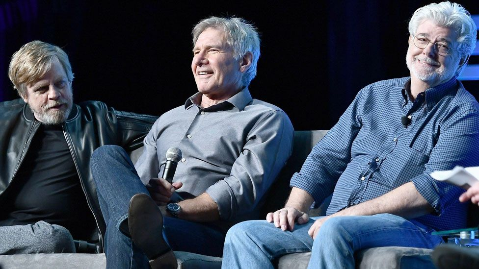 Mark Hamill, Harrison Ford and George Lucas