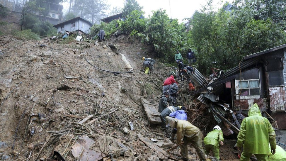 A landslide in the Philippines after Typhoon Mangkhut