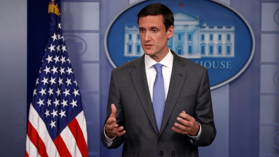 """White House Homeland Security adviser Tom Bossert speaks to reporters about the global WannaCry """"ransomware"""" cyber attack in May"""