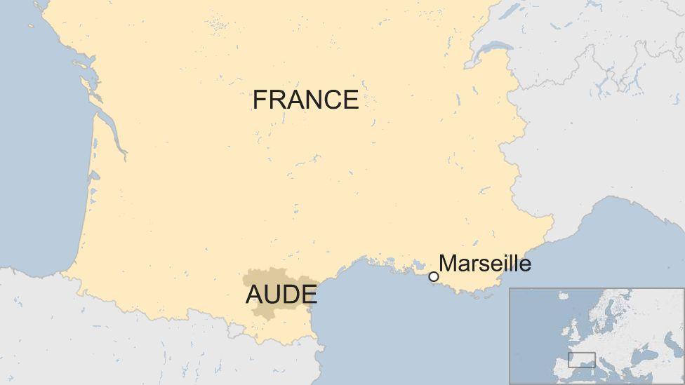 A map showing the location of Aude in relation to Marseille south-western France