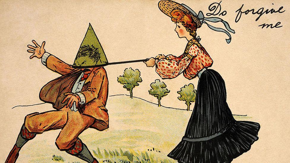 Cartoon of a woman catching a man