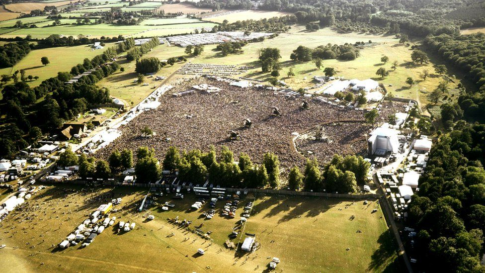 Aerial view of the crowd at Knebworth