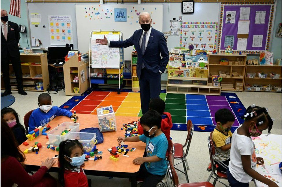 President Biden speaks to students in a New Jersey classroom