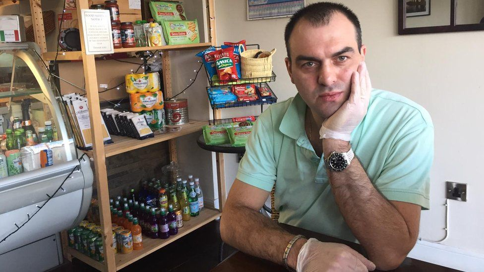Graziano Borghese in his cafe