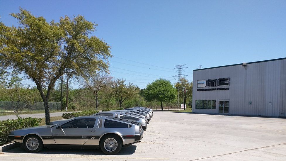 A line of DeLoreans outside the factory in Humble, Texas