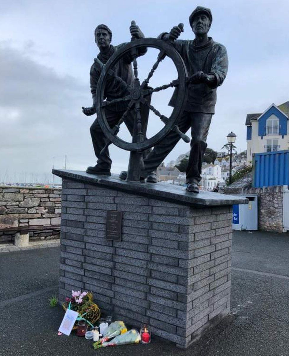 The Man and Boy statue in Brixham