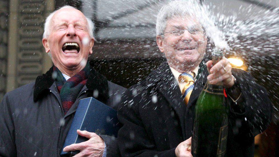 Roger (L) celebrates his civil partnership with Percy