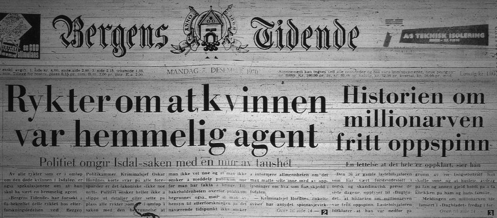 """Titular del 7 de diciembre de 1970 que dice: """"Rumores dicen que la mujer era una agente secreta""""."""