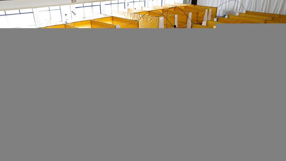 A medical staff member works at the yet to be used field hospital build to treat a large number of patients due to the spread of the coronavirus disease (COVID-19), at the Aga Khan University Hospital in Nairobi
