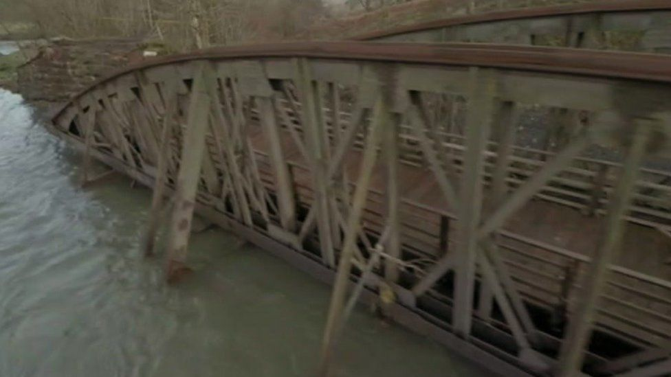 Damaged bridge between Keswick and Threlkeld