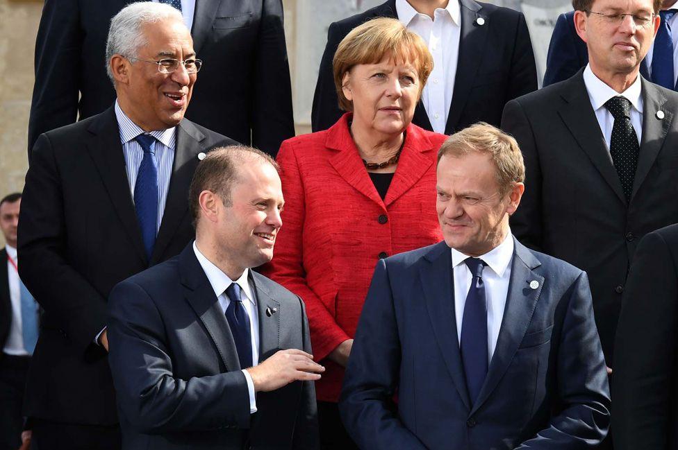 PM Joseph Muscat (bottom left) with EU leaders, Feb 2017