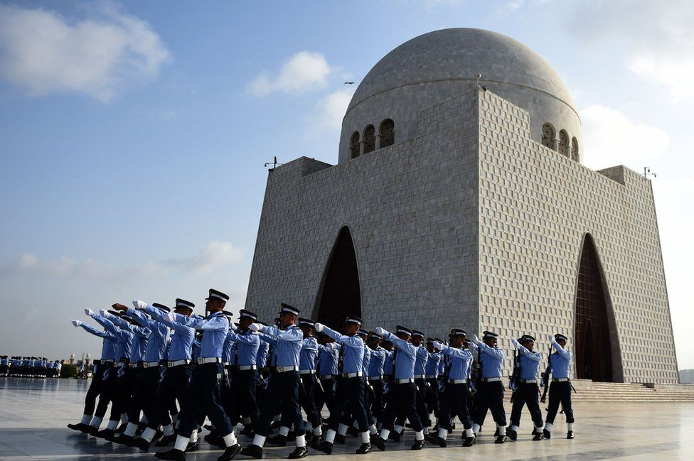 Pakistani Air Force cadets march next to Jinnah's mausoleum in Karachi to mark the country's Defence Day on 6 September, 2017.