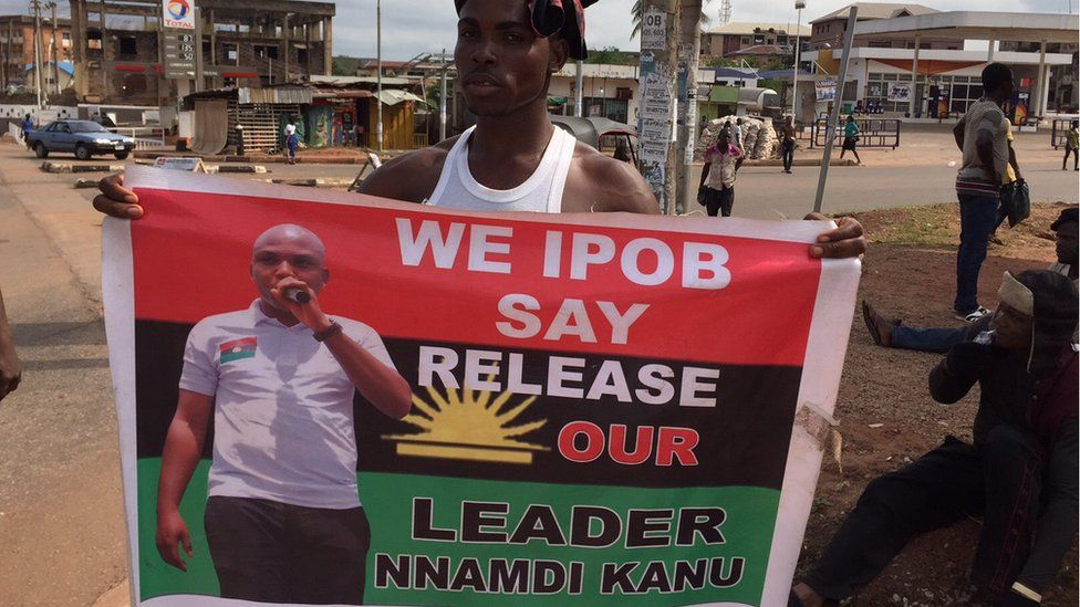 A Pro Biafra protester in southern Nigeria on Sunday 8 November, 2015