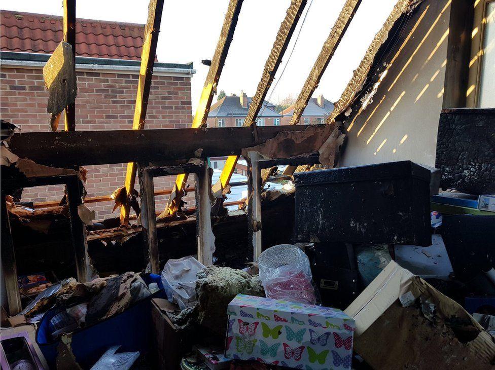 Fire damage inside house