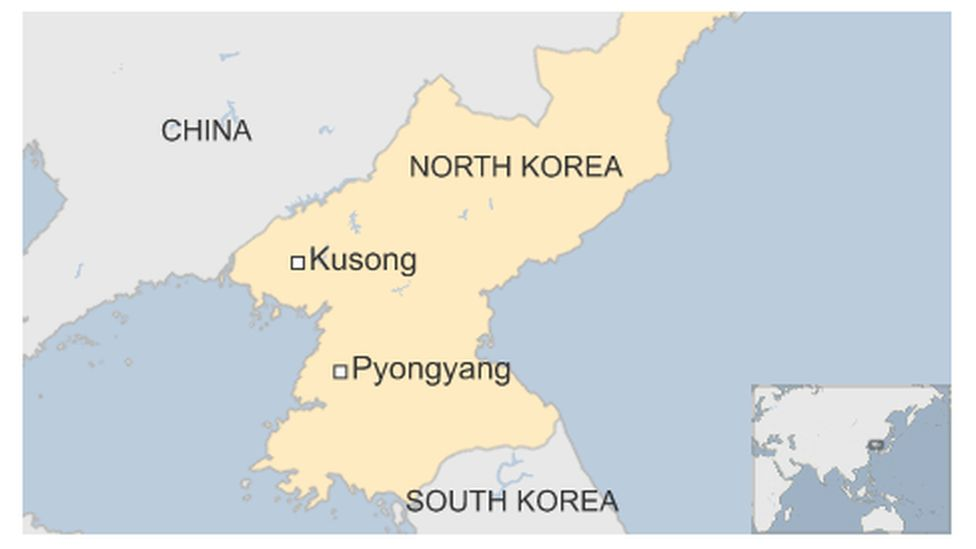Map of North Korea highlighting Kusong and Pyongyang
