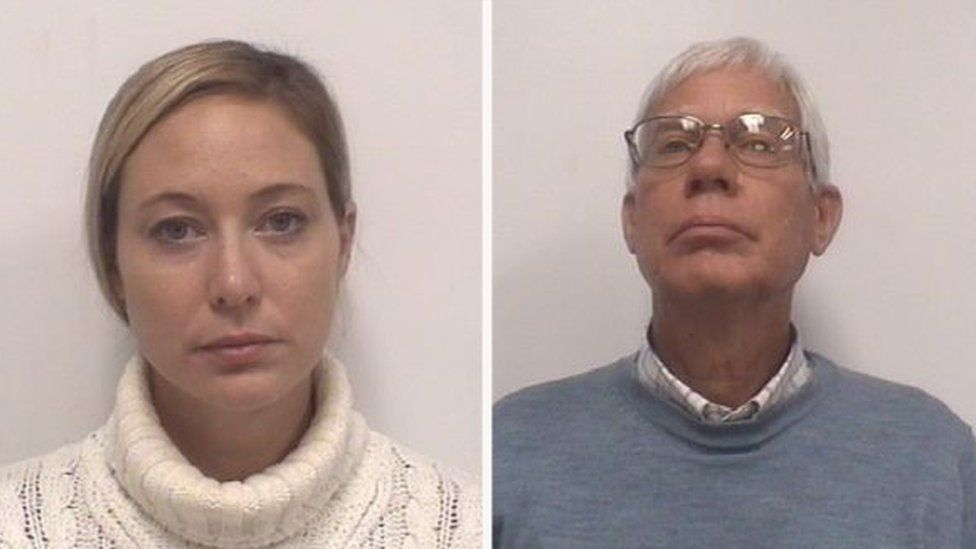 Mugshots of Molly Corbett, 33, and her father, Thomas Martens, 67.