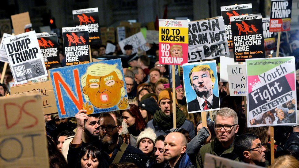 Protesters at the Trump travel ban demo in London