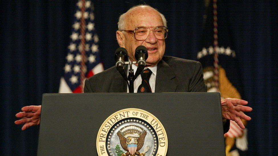 Economist Milton Friedman at the White House in 2002