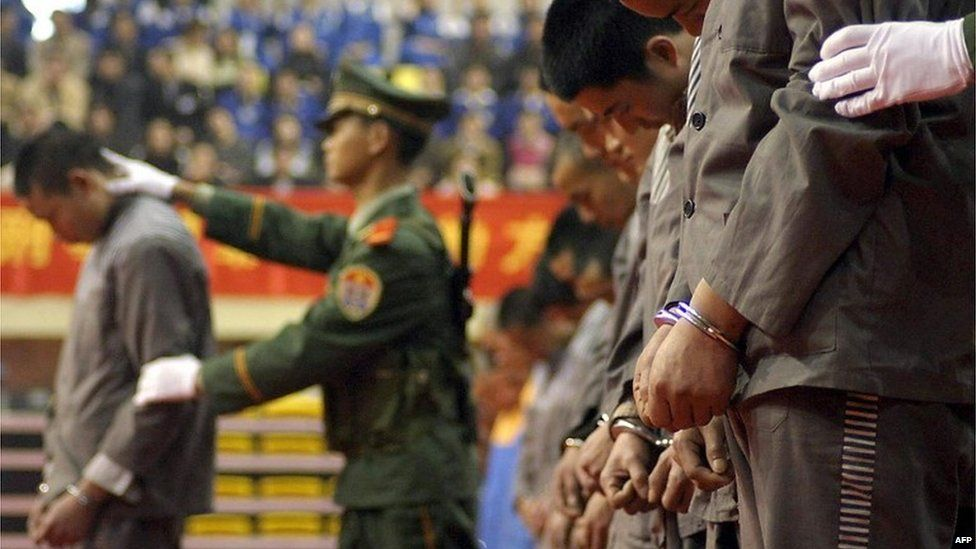 Prisoners at a sentencing rally in Wenzhou (file image)