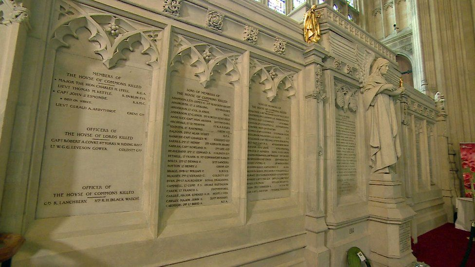 The World War One memorial in Westminster Hall