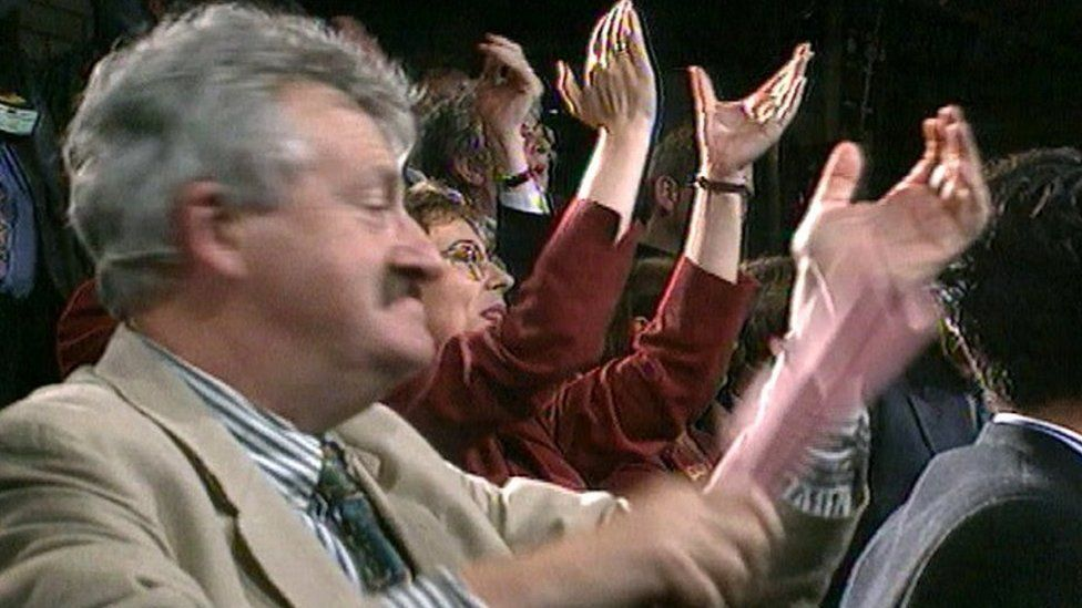Yes campaigners celebrate their narrow referendum victory for Welsh devolution in 1997