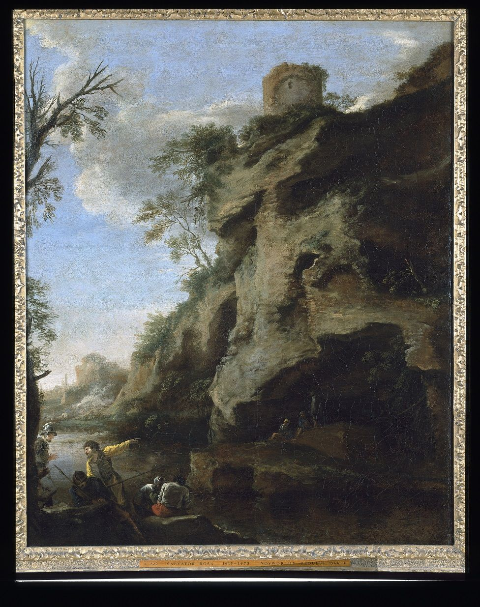 Salvator Rosa, 'A Rocky Coast, with Soldiers Studying a Plan,' late 1640s.