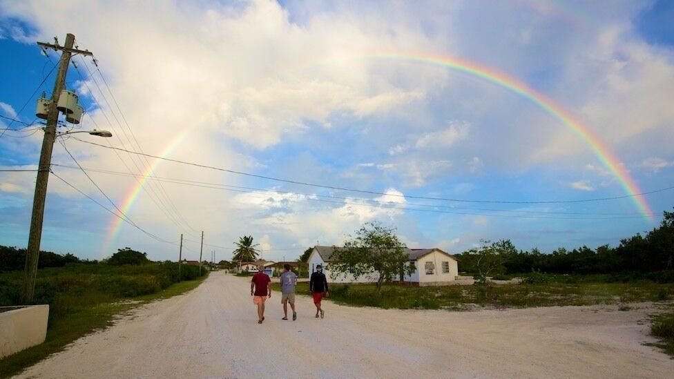 The team walking in Abraham's Bay on Mayaguana