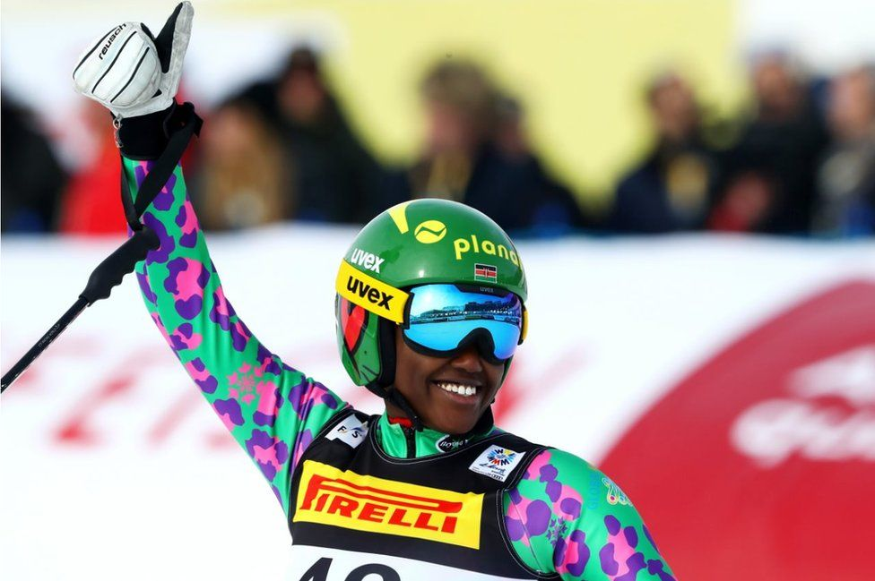 Sabrina Simader of Kenya celebrates at the finish during the Women's Super G during the FIS Alpine World Ski Championships on February 7, 2017 in St Moritz, Switzerland.