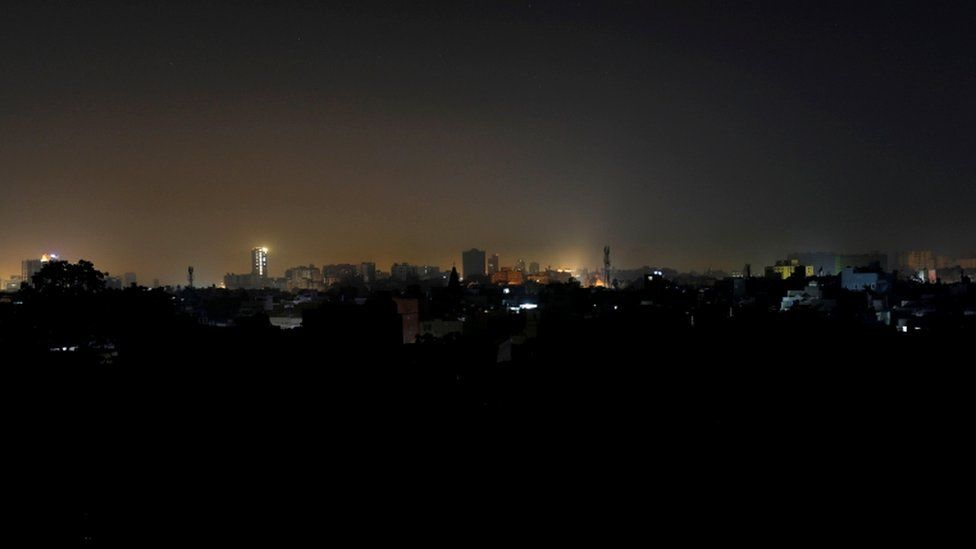 A residential area during a power breakdown in Karachi, Pakistan