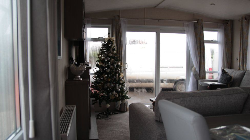 A Christmas tree in a static caravan